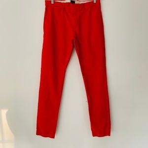 J. CREW Mens Broken In Flat Front Pants Red 32x34
